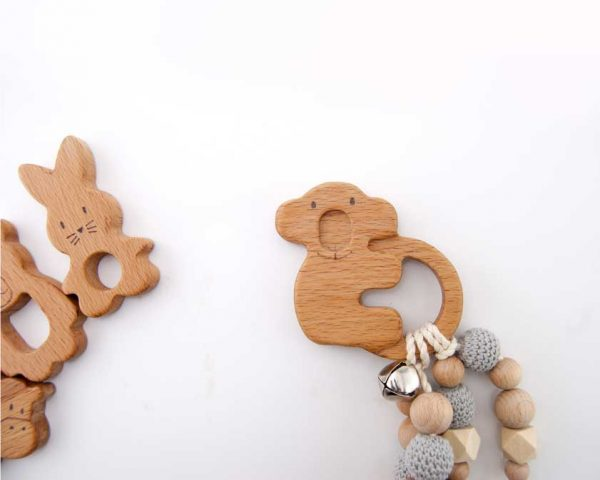 wooden koala teether , natural product for baby, wooden teether