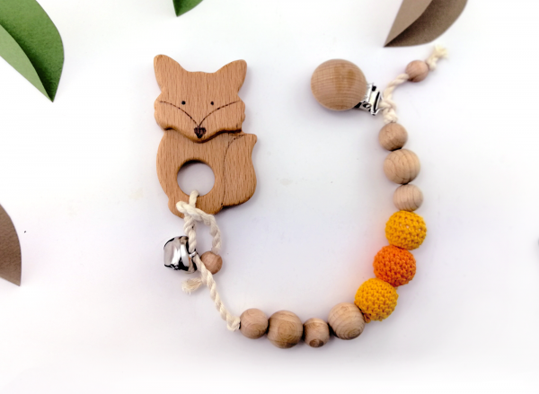 fox pacifier dummy, chain
