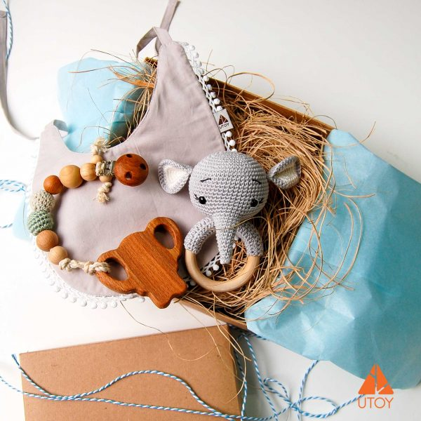 gray baby bib, elephant pacifier dummy, pacifier chain, crochet elephant rattle, rattle, wooden teether, gift set
