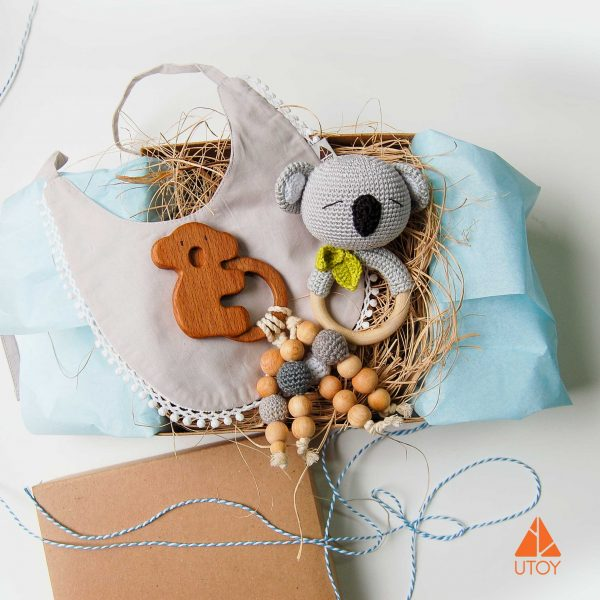 koala rattle, wooden teether, baby toy