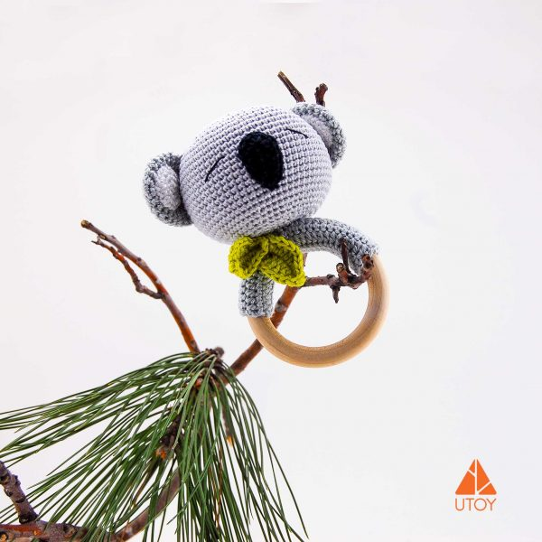 koala chrochet rattle wooden teether