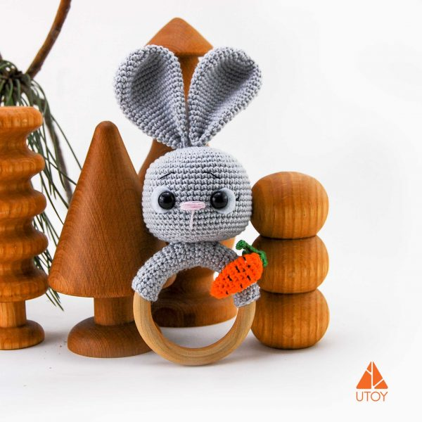 rabbit crochet baby rattle with carrot