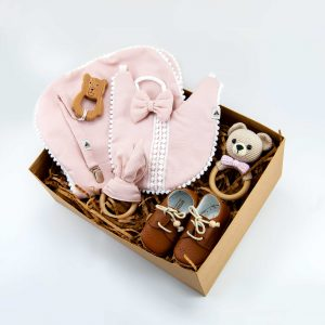 Baby gift set, baby clothes, baby gift, new born, wooden teether, baby bibs, rattle, pacifier dummy, wooden toy, leather baby shoes, baby shower gift