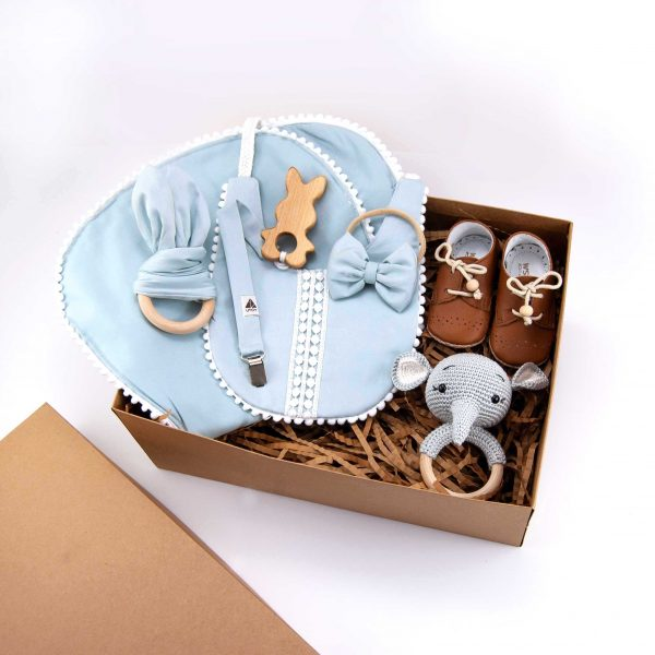 Baby gift set, baby clothes, baby gift, new born, wooden teether, baby bibs, rattle, pacifier dummy, wooden toy, cute