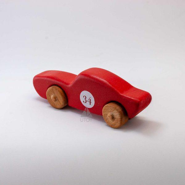 kırmızı ahşap araba